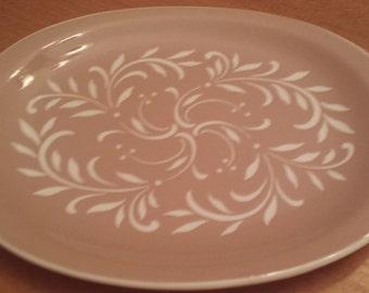 Vintage Harkerware Platter Tan/White