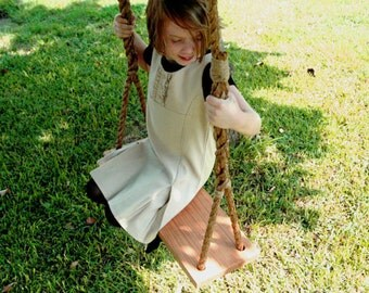 Salvaged Wood Plank Tree Swing with Rope - Child's Tree Swing - Rope Swing