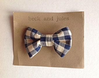 Boys navy blue plaid clip on bow tie