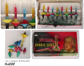 Vintage Noma Bubble Lights With Noma Box and Extra Items  (Inventory #CH522)