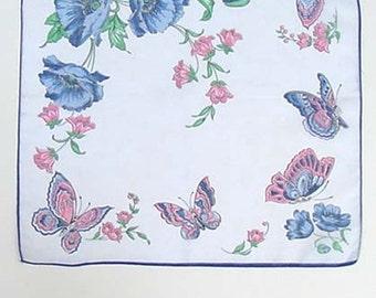 Vintage Blue Poppies and Butterflies Hanky Lots of Butterflies Handkerchief Hanky (Inventory #M2341)