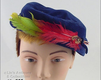 Original by Sherman Vintage Blue Hat with Colorful Feathers Accent  (Inventory #HAT295)