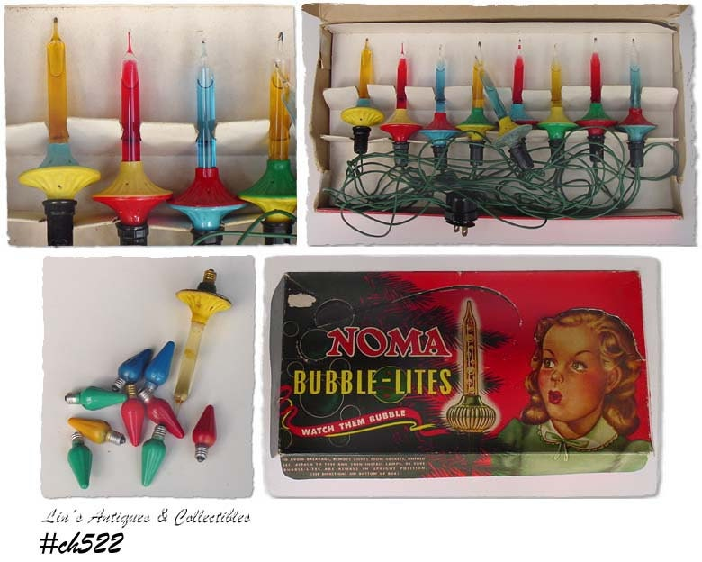 Vintage Noma Bubble Lights With Noma Box And Extra Items