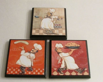 Kitchen Chef Room Wall Plaques Set Of 3 Chef Kitchen Room Decor Chef Cook