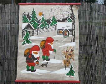Scandinavian Wall Decor Wall Hanging by Hya Vintage Christmas Swedish Textiles Printed Wall Decor, Winter Scene @90
