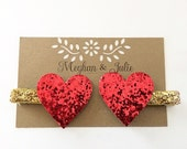 Red and Gold Glitter Hearts Hair Clips, Red Valentine's Day Hair Clips, Girls Red Sparkly Hearts Hair Clips MeghanandJulie, Baby Hair Clips