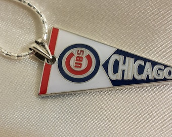 Chicago Cubs .925 Italian Sterling silver Pennant Necklace