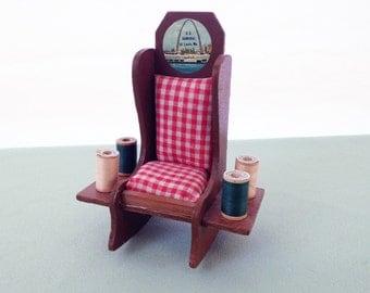 Miniature Rocking Chair Pin Cushion Souvenir: SS Admiral St Louis, MO