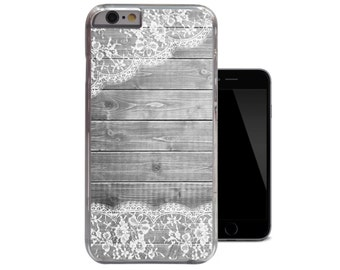 Wood White Lace iPhone 6 Case iPhone 5 5s Case iPhone 5c Vintage iPhone 4 4s Clear Case (A252)