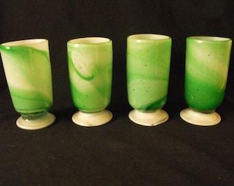 Ornate Green Hand Blown Drinking Glasses