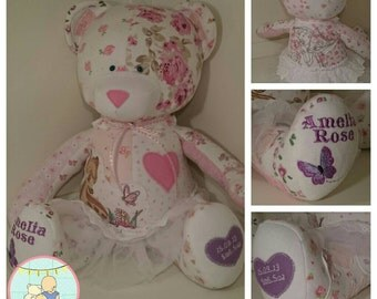 Keepsake memory bear from baby clot hes