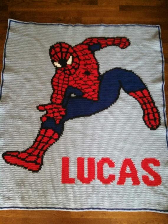 Crochet Pattern For Spiderman Blanket : handmade crochet blanket Spiderman by CathysCrochets on Etsy