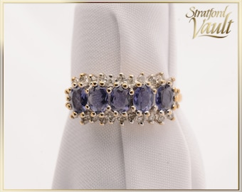 Vintage ~ Tanzanite and Diamond Ring ~ 9k Yellow & White Gold ~ 5 Oval Tanzanite ~ 26 Single Cut Diamonds ~ 1950's ~ STR16028 ~ GIA ~ 900.00