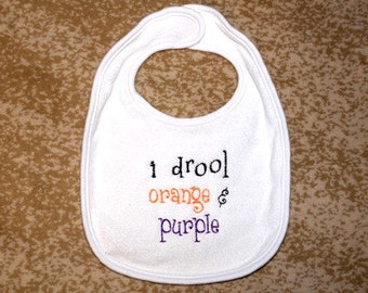 Clemson Tigers - I drool orange and purple baby bib