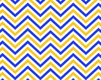 Blue, yellow-gold and white chevron craft  vinyl sheet - HTV or Adhesive Vinyl -  chevron pattern vinyl HTV199
