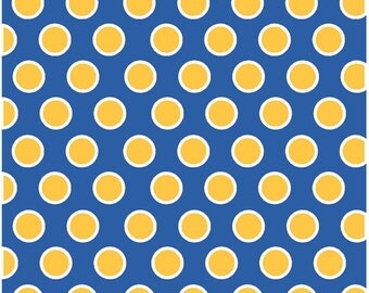 Blue with yellow-gold and white dots craft  vinyl sheet - HTV or Adhesive Vinyl -  large polka dot pattern HTV750