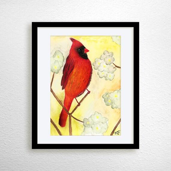 Cardinal Bird Cardinal Art Print Watercolor By Miaomiaodesign