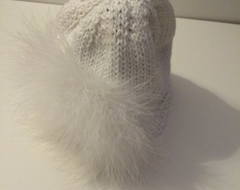 Hand Knit Baby Hat White Hat with Large White Marabou Puff