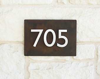 Rustic Metal Address Plaque with (3) Brushed Aluminum Address Numbers (FREE SHIPPING!)