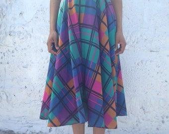 Purple Multi Wide Plaid Circle Skirt