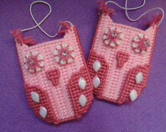 Pink Owl Needlepoint Pocket Owl Gift Card or Business Card Holder Child Room Decor