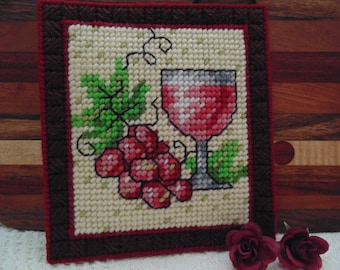 Bordeaux Style Wall Art, Needlepoint Art, Wine and Grapes Decor, French Country Needle Art Tapestry Decor