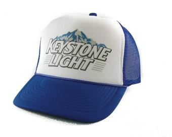 Keystone Light beer hat Trucker Hat Mesh Hat  Snap Back Hat royal blue