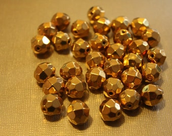 Vintage Faceted Gold 10mm Bead (30 Pieces)
