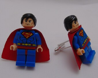 Hand Made NOVELTY Super hero SUPERMAN Cufflinks~ Ideal Gift WEDDING ~ Same Day Dispatch ~ Made using Lego(r) Compatible Pieces