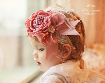 Baby Headband Dusty Pink Singed Satin Flower With Pearls Sparking Rhinestone Bow Headband Lace Headband Baby Girl Toddler