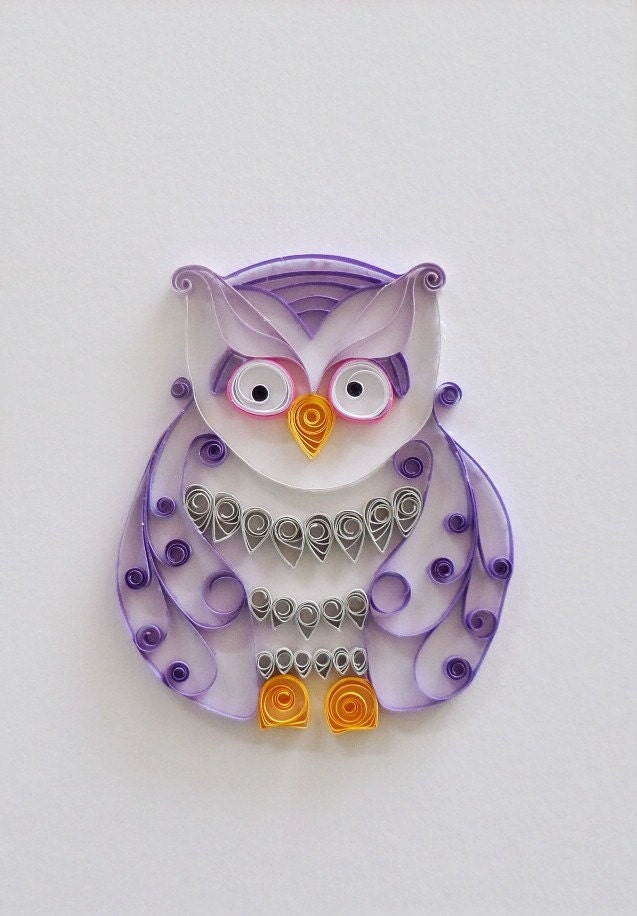 Quilled paper purple owl home decor paper owl wall decor for Owl decorations for the home