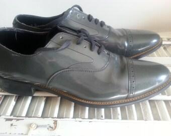 Vintage Grey Patent Leather Stacy Adams shoes men's US size 9