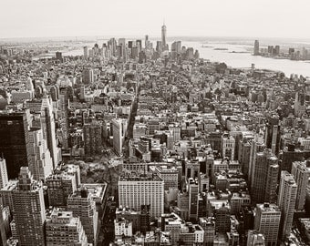 Black and White Picture of New York City from on top of the Empire State Building