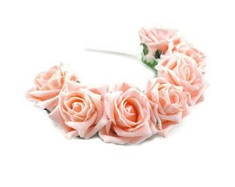 Peach Rose Flower Crown, Peach Rose Headband, Peach Flower Crown, Flower Crown, Rose Crown, Flower headband, Festival Crown, Boho Headband