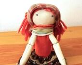 Miriam rag doll with long curly hair