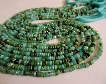 3-4 mm Green Blue Peruvian Opal Micro Faceted Rondelle Full 13 inch Strand-Best Price