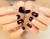 Japonais nail art, sticker nal noir sexy fashion, faux presse sur ongles ongles déco Noël ongles autocollant de mariage