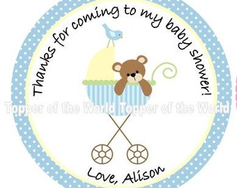 12 Personalized boy blue baby stroller and teddy bear Baby Shower  or Birthday Party Favor Thank You Tags OR  Stickers You Choose Thanks