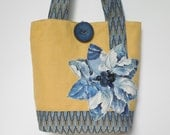 Womens Large Tote Bag, Yellow Fabric Bag/Blue Tote Bag/Large Shoulder Bag/Fabric Shoulder Bag/Summer Tote Bag/Blue Shoulder Bag/Yellow Bag
