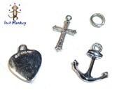 Faith Hope Charity - Heart Cross Anchor charm. 3 Sterling Charms. 1970s.