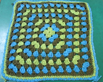 Vintage huge  crocheted  Granny Square pillow top