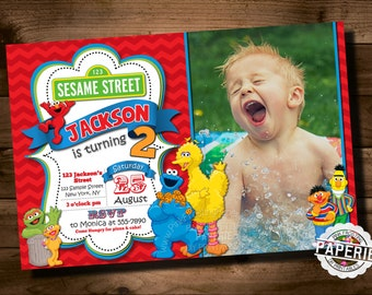 SESAME STREET BIRTHDAY Invitation, Elmo, Cookie Monster, Big Bird, Chevron Invitation, Boy Birthday Invitation, Pink Frosting Paperie