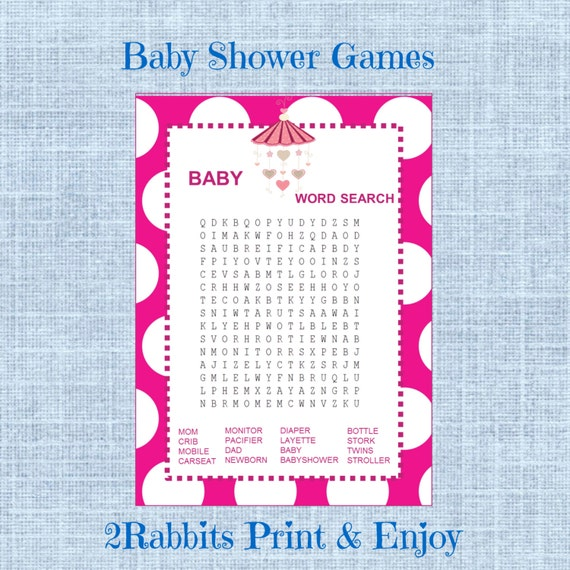 Crossword Puzzle For Baby Shower Part - 46: Baby Shower Word Search Game Girl Baby Shower Crossword Puzzle Game Instant  Download - Pink Polka Dot Background-Pink Baby Mobile
