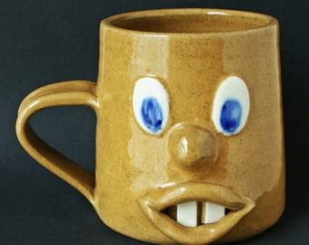 Cornish Bunty Smith Pottery Goofy face Mug.