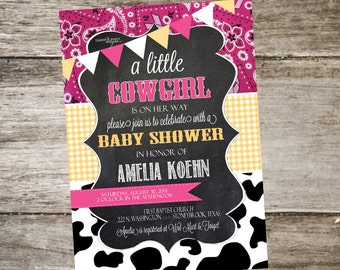 Western Baby Shower Invitation. Bandana Baby Shower Invitation. Cowgirl Baby Shower Invitation. Customized 5x7 Printable Invitation DIY
