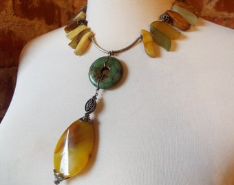 Chunky Bold Yellow and Green Jade Statement Necklace