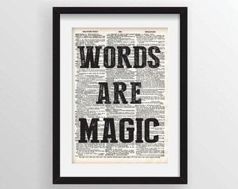 Words Are Magic - Recycled Vintage Dictionary Art Print