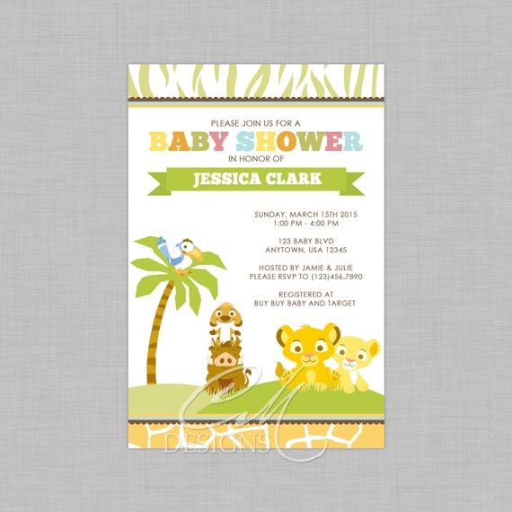 lion king inspired baby shower invitation by designsbycassiecm