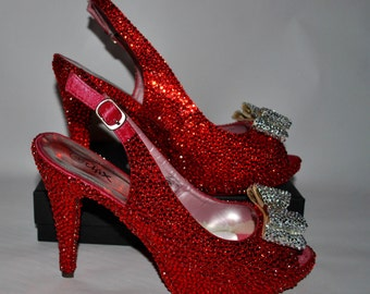 Wizard of Oz inspired Ruby Slippers Slingback Shoes