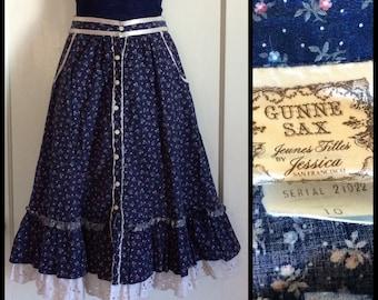 1970's Gunne Sax Jeunes Filles by Jessica San Francisco Prairie Ruffle Skirt 25 inch high waist Button front Bowtie belt looks size XS